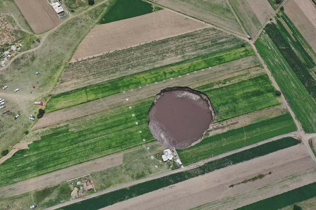 Top view of giant hole in mexico
